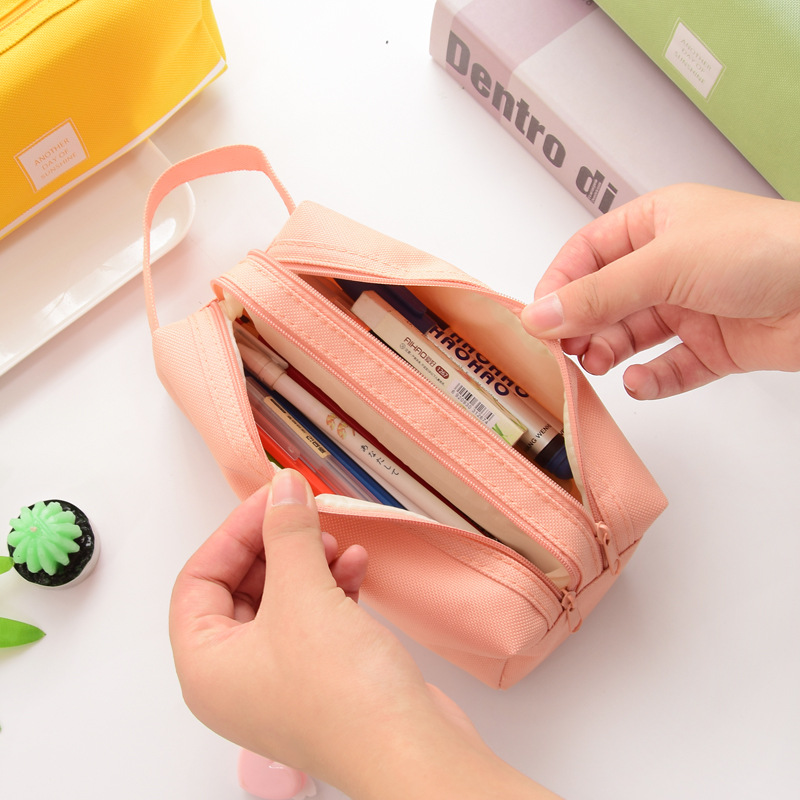 Canvas Large Capacity Solid Color Zipper Pencil Bag Pouch Box Stationery