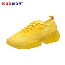 Koznoy Lace Net Shoes 2019 Summer Transparent Jelly Bottom Thick Sponge Sneakers Cake Torre White Women Autumn
