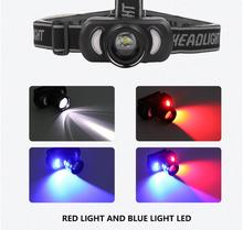 2 in 1 High Bright LED XPE + Red Blue Light Headlight Head Lamp Torch Lanterna head light USB charging for Outdoor Camping