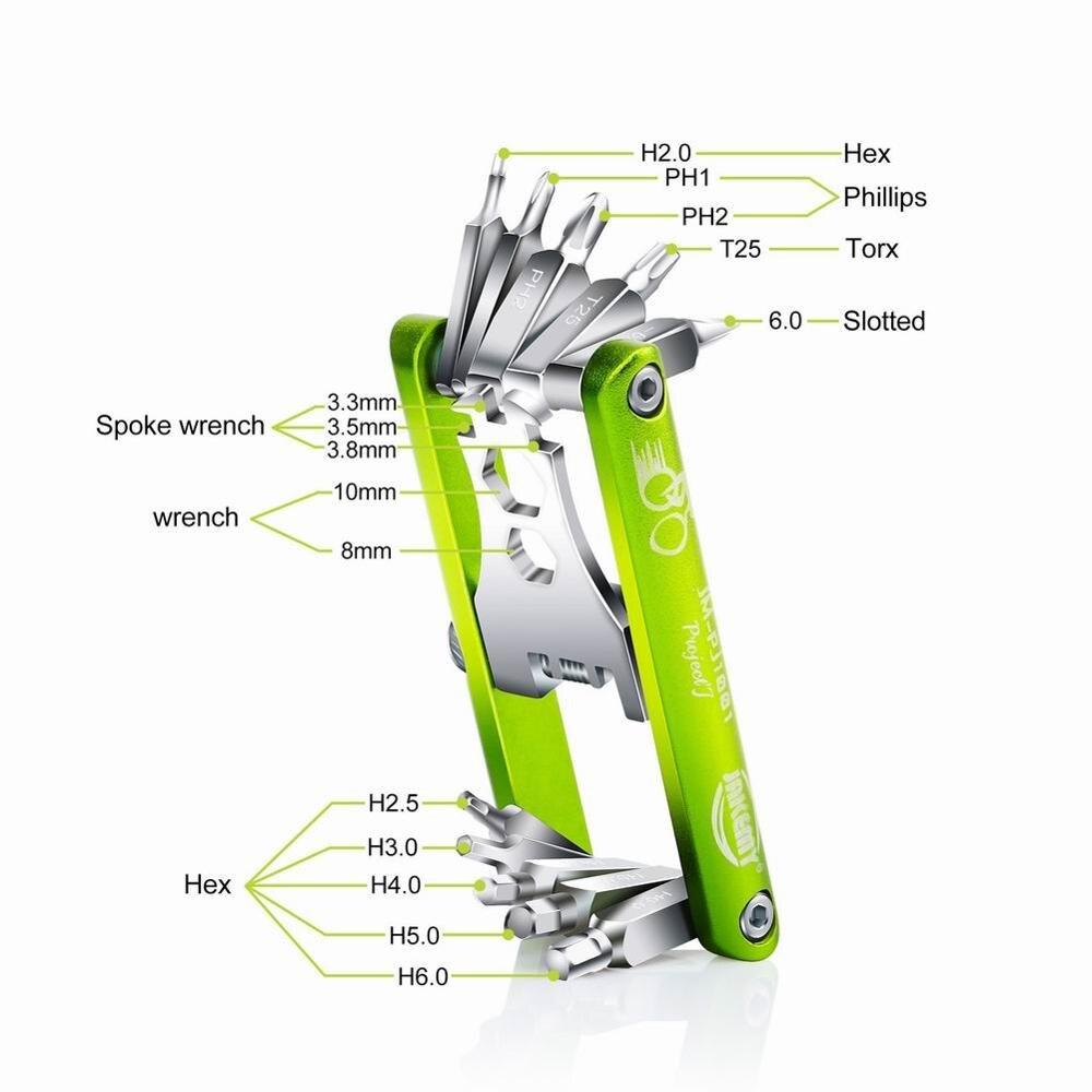 11 In 1 Bicycle Tools Sets Bike Multi Repair Kit Hex Spoke Wrench Screwdriver Carbon Steel Multifunctional Folding Multitools