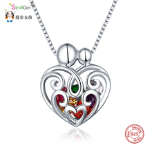 StrollGirl персонализировать 925 Серебряное ожерелье сердца кулон и камень DIY изготовленные на заказ горячие ювелирные изделия День матери подарок