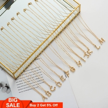 Fever&Free Delicate Gold Chain Letter B Name Necklace Pendant A-Z Initial Collar Choker Alphabet Necklaces Collares De Moda 2019