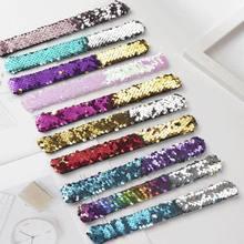 2 pçs glitter tapa pulseiras sereia lantejoulas duas cores patted pulseiras para crianças pulseira festa decoração brinquedos pulseira acessórios