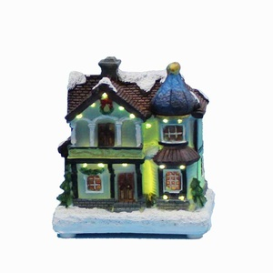 """4"""" LED paper mache (polyresin) Christmas houses village with led fibre-optical light Merry Christmas decorations for home(China)"""
