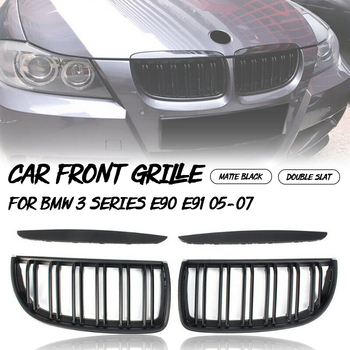 1 Pair Matte Black Double Slat Sport Kidney Grille Grill For BMW E90 E91 4-Door Saloon/Touring 2005 2006 2007 2008