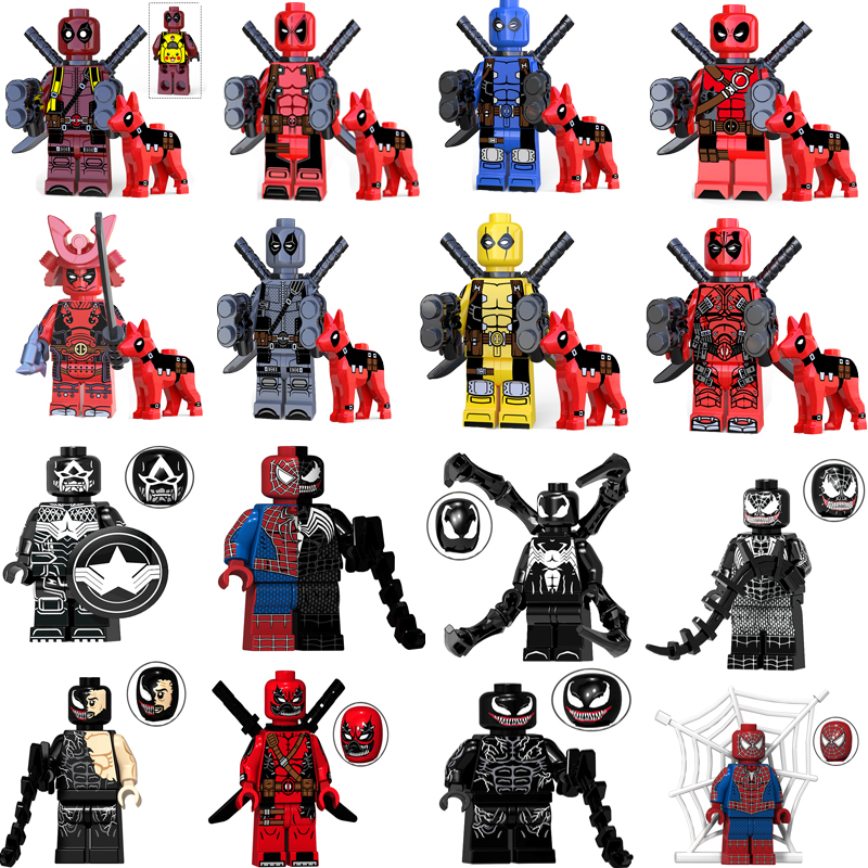 Single Sale Deadpool Venom Spiderman Figure Marvel Hero Gwen-Pool Batman Building Blocks S Bricks Kids Educational Toys Legoings