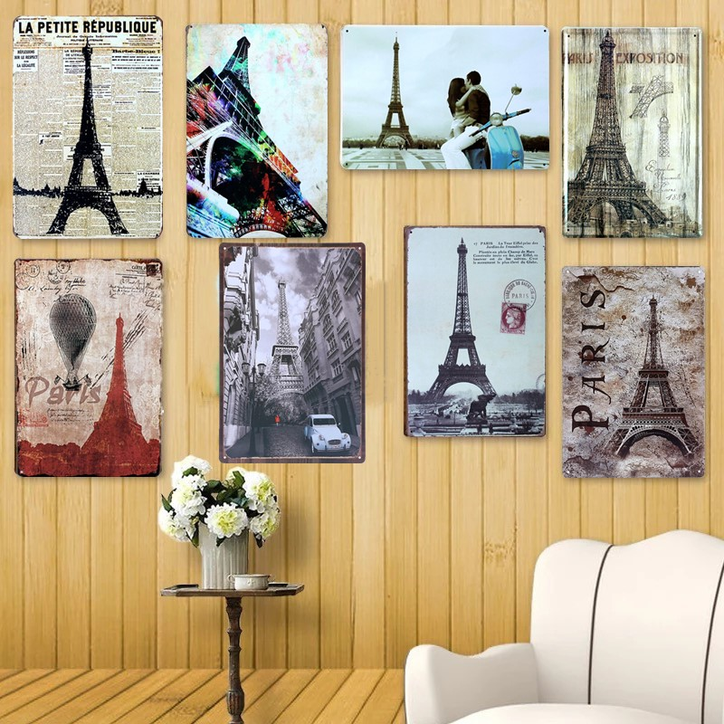 Paris Tower Metal Tin Sign Vintage Shabby Chic Plaque Iron Poster Painting Wall Art Decor For Cafe Bar Club Home Decor Plate
