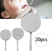 Tête de miroir dentaire détachable en acier inoxydable, outil de soins buccaux, nettoyage des dents pour dentiste, 20 pièces