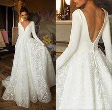 Современные кружевные свадебные платья в стиле бохо с длинными