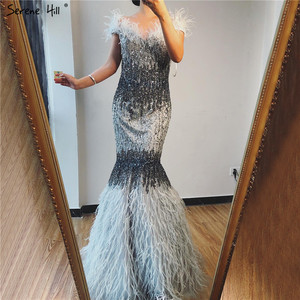 Image 1 - Dubai Design Grey Luxury Sexy Evening Dresses Crystal Feathers Off Shoulder Formal Dress 2020 Serene Hill LA70242