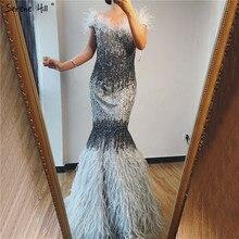Serenhill robe de soirée luxueuse et Sexy, tenue de soirée de standing, gris, plumes, épaules nues, style dubaï, pierreries, LA70242, 2020