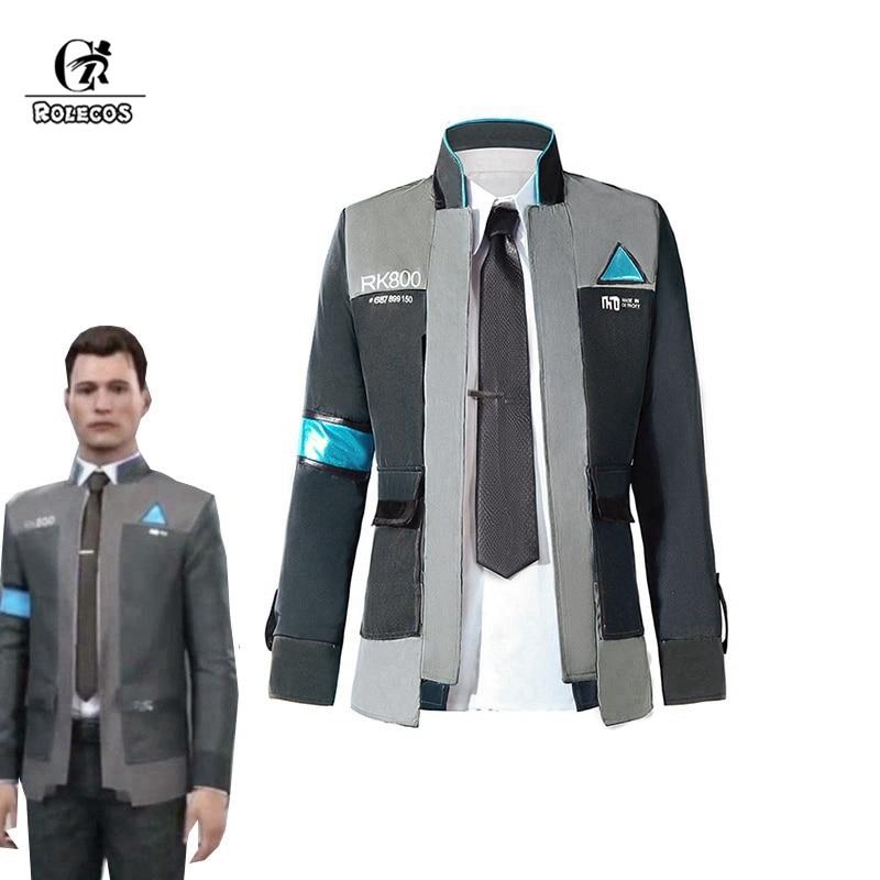 ROLECOS Jogo Detroit: se tornar Humano Cosplay Homens Casaco Jaqueta Camisa Branca Gravata RK800 Connor Cosplay Uniforme Traje Conjunto Completo