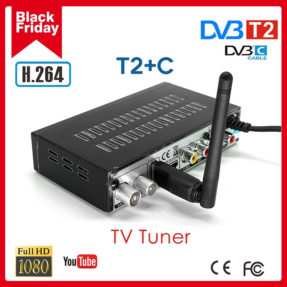 Rússia sintonizador de tv quente dvb t2 receptores de tv digital terrestre DVB-C combo h.264 digital tv decodificador suporte youtube conjunto caixa superior