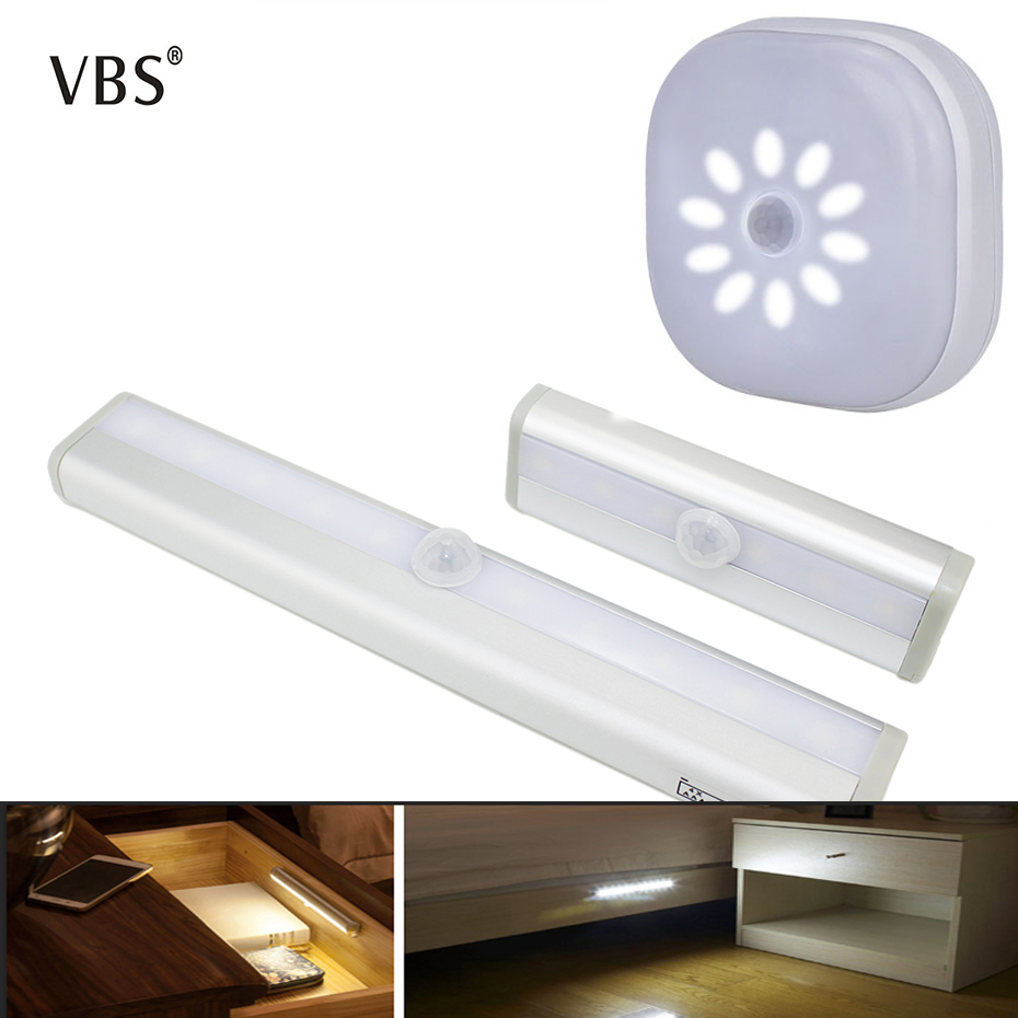 LED Under Cabinet Light Aisle Lamp With Wireless PIR Motion Sensor Powered By AAA Battery Closet Stairs Wardrobe Bed Side Light