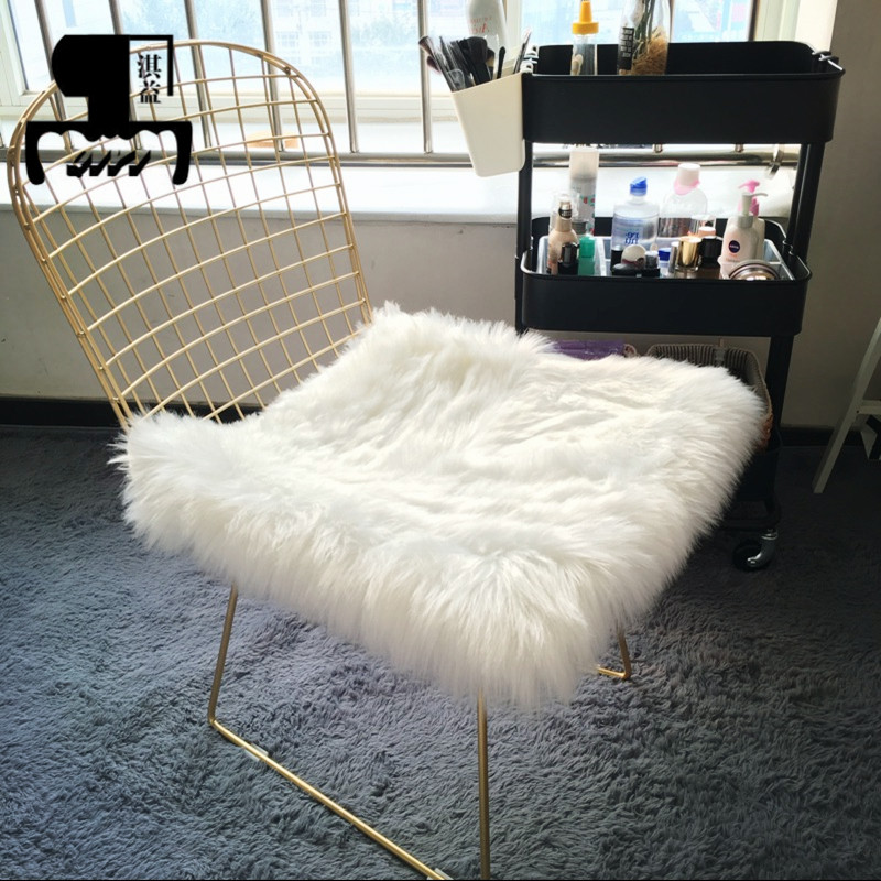 Nordic Golden Iron Hollow Chair Stool  Bar Stools For Dining Room Office Home With 100/50*50cm Wool Cushion