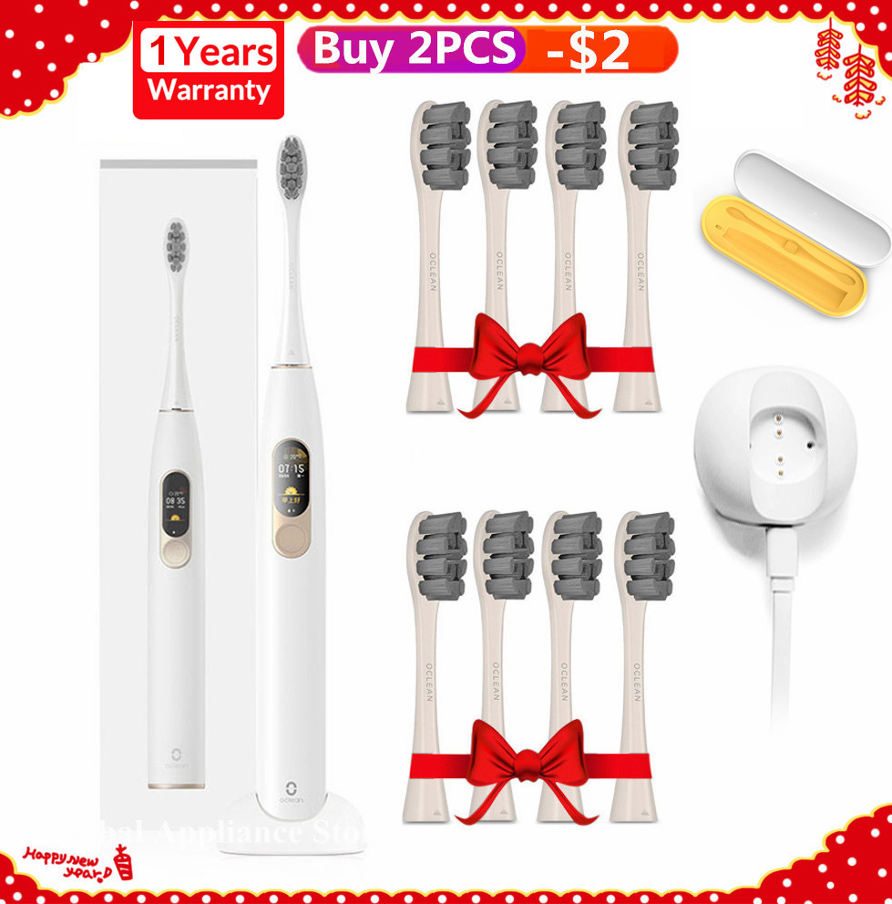 Oclean X Sonic Electric Toothbrush + 8Pcs Heads Upgraded Waterproof Ultrasonic Oclean X Toothbrush USB Rechargeable