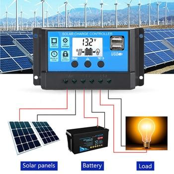 10A 20A 30A MPPT Solar Controller For Home 12V/24V Solar Charger Controller Solar Panel Battery Controller Regulator Dual USB 30a epever mppt solar tracking regulator epsolar 12v 390w 24v 780w tracer3210an mt50 remote meter solar charging controller