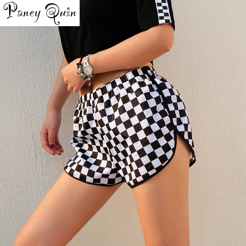 Women Shorts Checkerboard Side Split Plaid Shorts Loose BEACH Short Pants Womens Shorts Summer Contrast Casual Shorts Femme