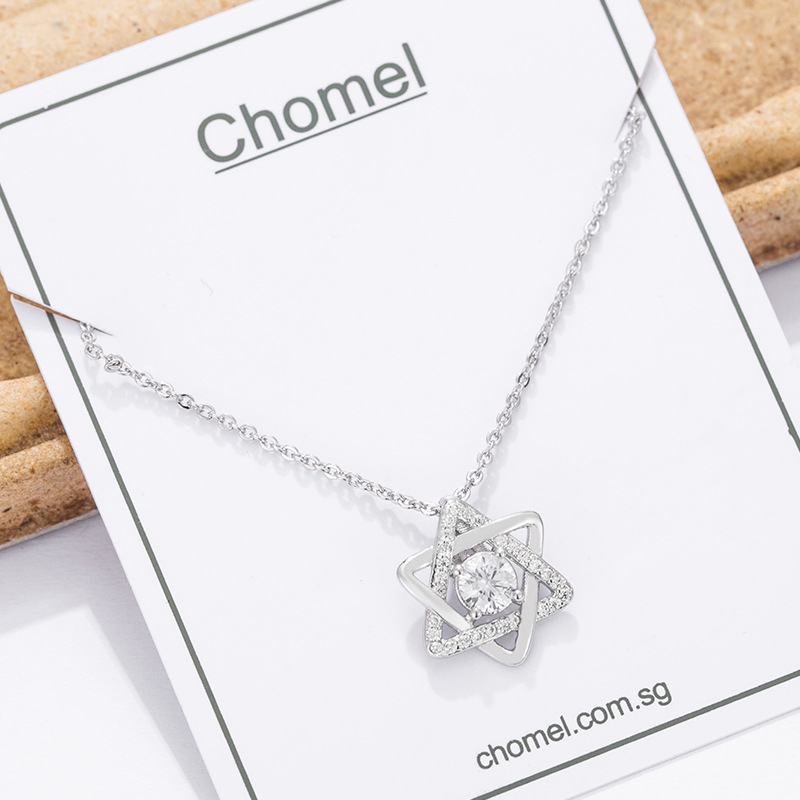 Singapore chomel niche star necklace women's fashion sterling silver five-pointed choker simple