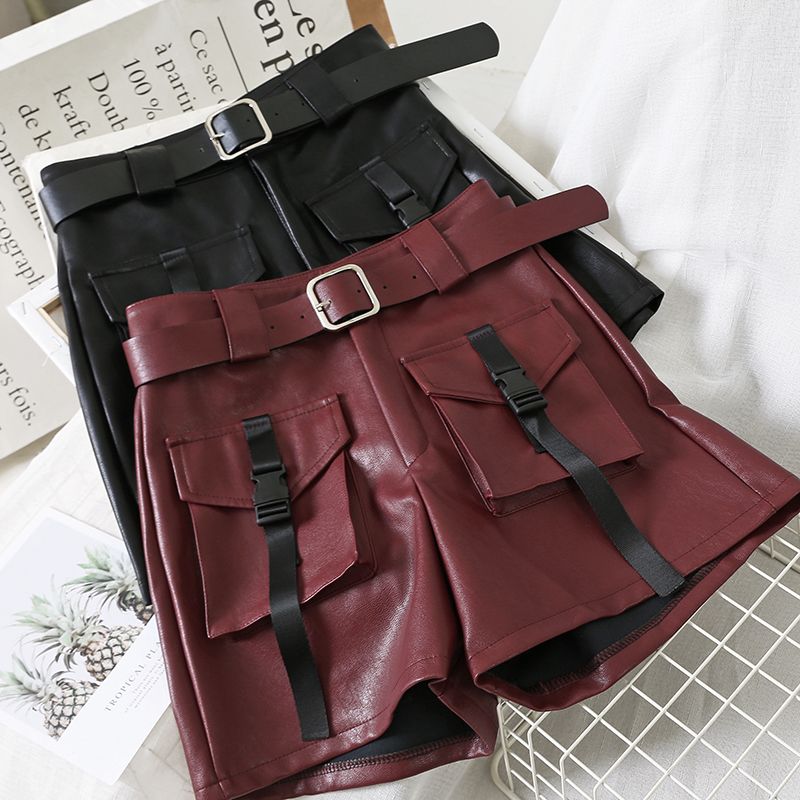 Casual Women A-line Short Pants New Leather Shorts Autumn  Winter High Waistband  Green Shorts Pants Stylish Ladies Loose Beach