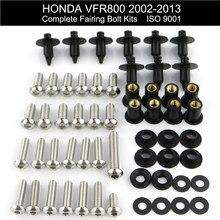 Apto para honda vfr800 vfr 800 2002-2013 completa carenagem parafusos kit clips velocidade nus parafusos da motocicleta de aço inoxidável