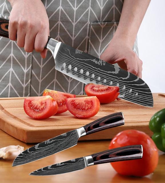 XITUO-Juego de cuchillos de cocina de acero inoxidable Santoku, juego de cuchillos Santoku de utilidad, cortador, pelador de pan, tijeras, 4-8 Uds. 6
