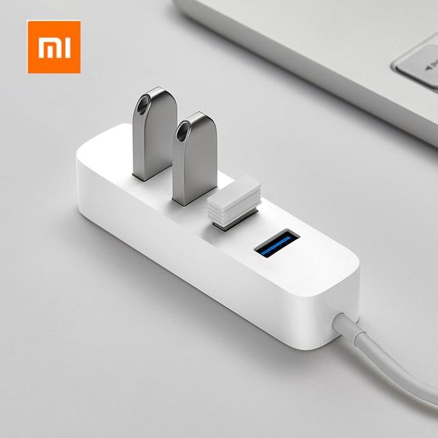 شاومي 4 منافذ USB3.0 Hub مع واجهة امدادات الطاقة الاحتياطية USB محور موسع تمديد موصل محول لأجهزة الكمبيوتر المحمول