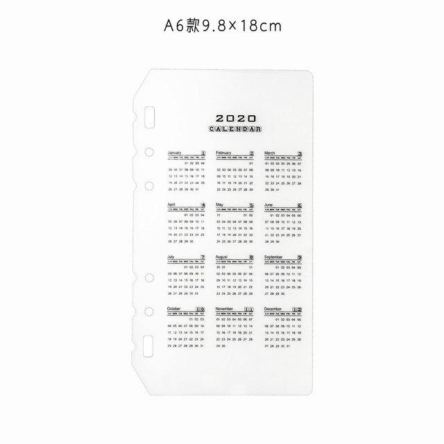 6 Holes PVC Spiral Binder Planner Divider Inner 2020 Calendar for Notebook And Journals Organizer A5 A6 Index Loose Leaf 5
