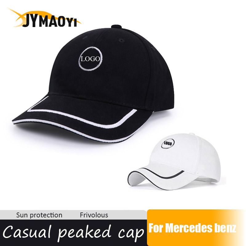 JYMAOYI Color Black /White Baseball Cap Hat With Car Logo For Mercedes Benz Adjustable Peaked Hat Casual Sun Visor Cap