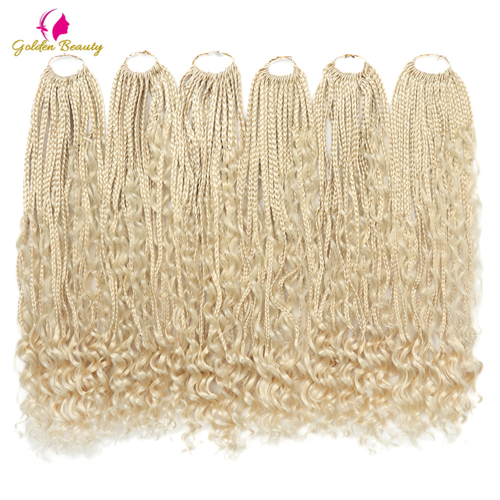 22 Inch Boho Goddess Box Braids Crotchet Hair With Curls Ends Synthetic Braiding Hair Extension Ombre Goddess Crochet Braids