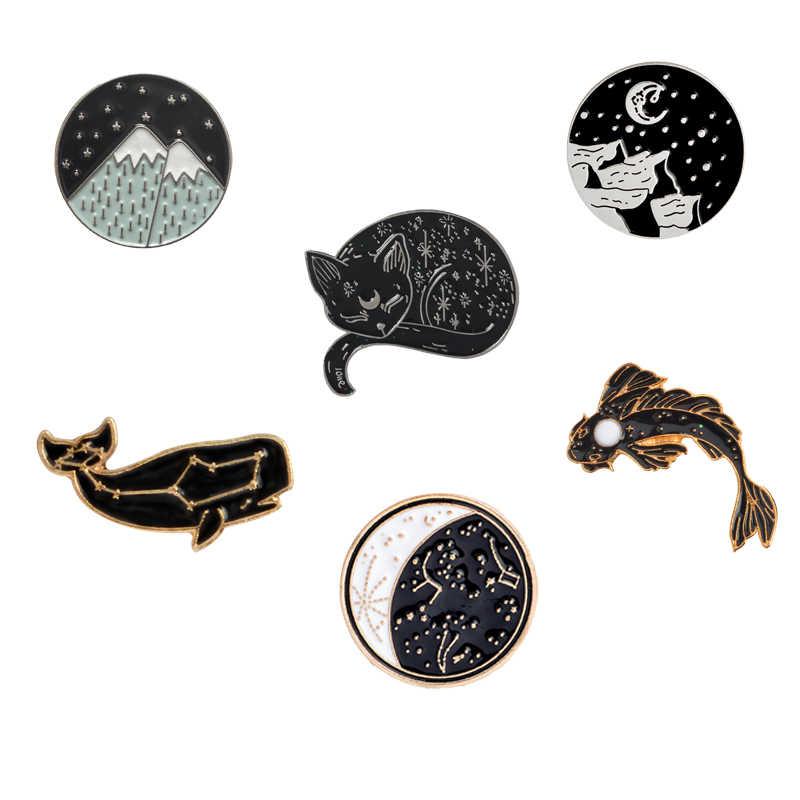 Dreamy Chòm Sao cá voi Luna mèo Koi men Pin Đẹp Núi Tuyết huy hiệu Trâm cài áo sơ mi túi Lưng chân Động Vật Món quà trang sức