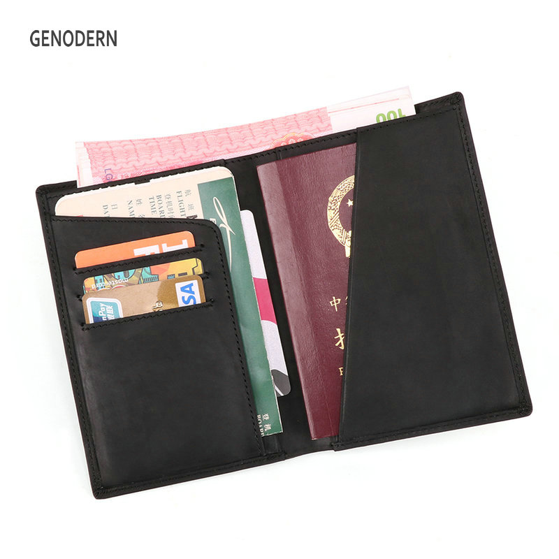 GENODERN RFID Crazy Horse Leather Men Wallet with Passport Cover Large Wallet for Men Male Document Orginization Passport Holder