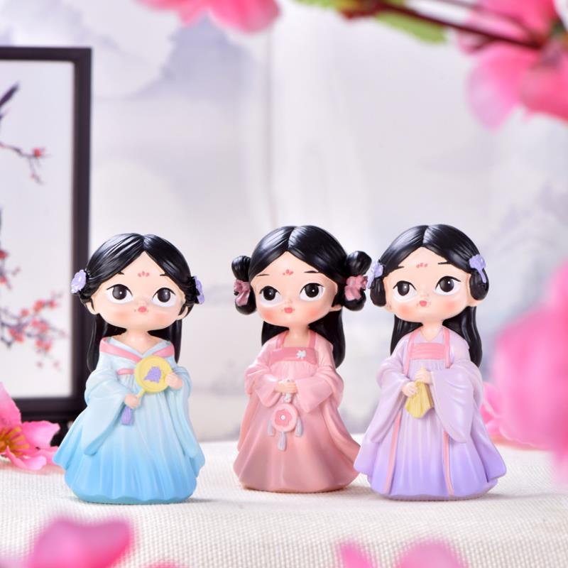 1pc Lovely Chinese Court Girl Little Princess Model Doll Hanfu Girl Desktop Decor Cake Decor Figure Toys For Girl Gift