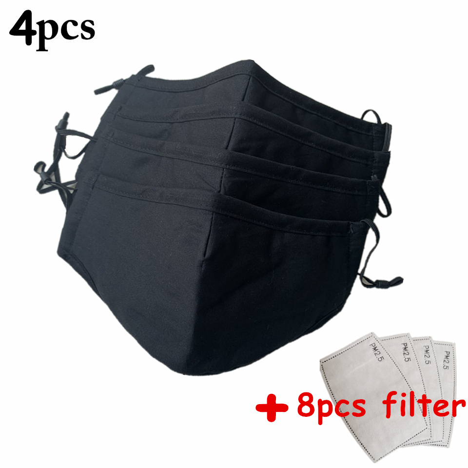 4PCS Black Cotton Anti PM2.5 Face Mouth Mask With Filter Washable Reusable Anti Dust Masks Breathable Bacteria Proof Mouth Mask
