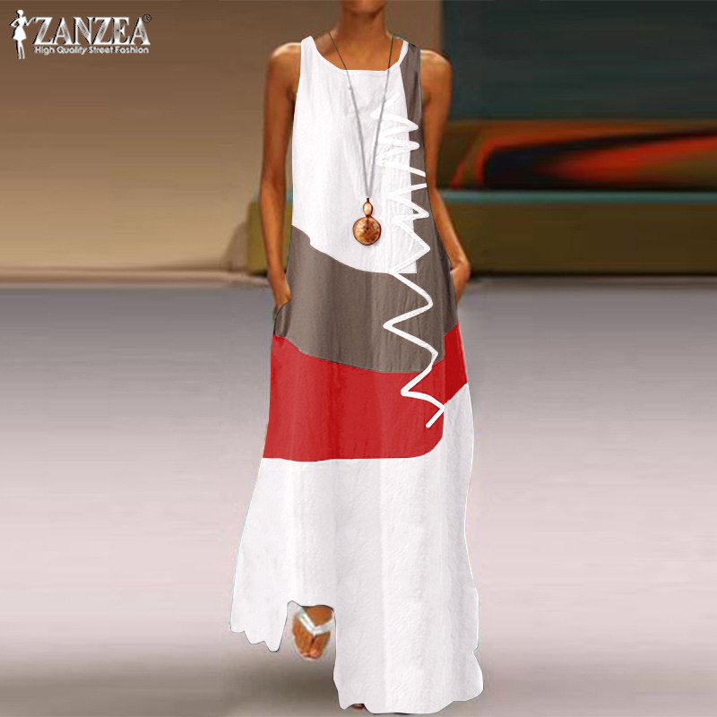 S 5XL 2020 Summer Sleeveless Patchwork Sundress ZANZEA Fashion Party Tank Dress Women Casual Cotton Long Vestidos Female Robe