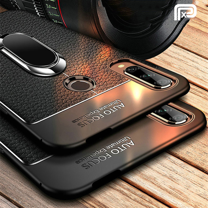 For Huawei Honor 9X Premium Case Leather Texture Soft Silicone Cover For Huawei Honor 9X Gobal Case Magnetic Ring Holder