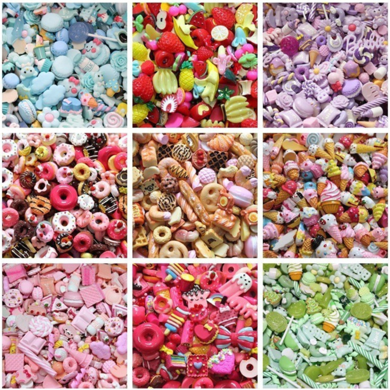10Pcs/Set DIY Candy Cake Resin Charms Slime Filler Supplies Phone Case Decoration Miniature Ornament Accessories Kitchen Toys