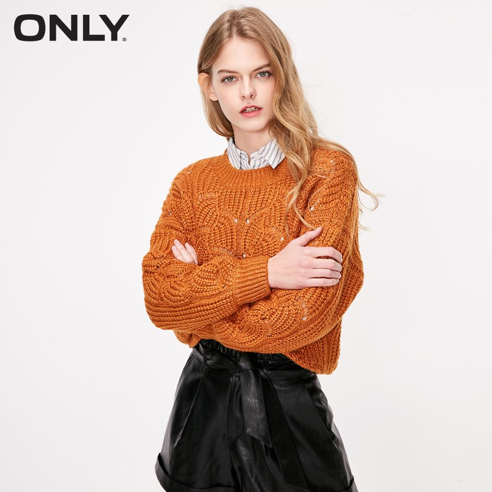 ONLY Autumn New Hollow-out Round Neck Long-sleeved Sweater  |  118313503