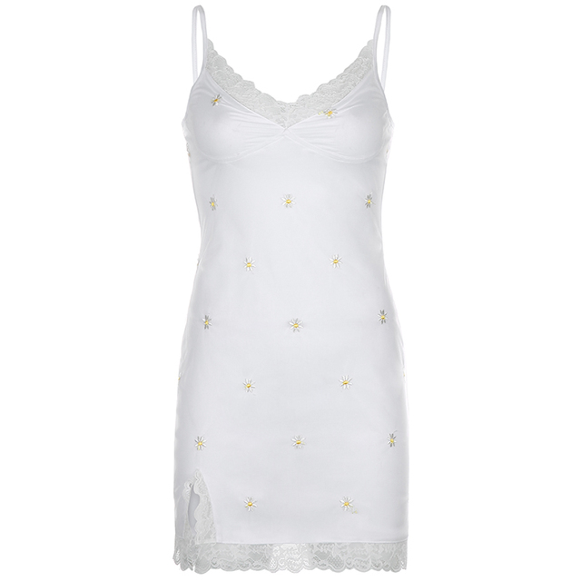 HEYounGIRL 90s Print Embroidery Lace Sexy Bodycon Dress Split Summer Mini Dresses Ladies Embroidery Sleeveless Short Dress Y2K 6