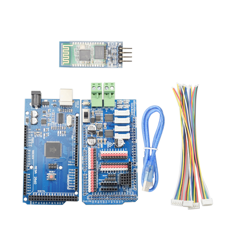 Bluetooth Controller With Mega2560 Board For Arduino 4 Channels Motor Driver 9 Channels Servos Shield Board For Mecanum Wheel