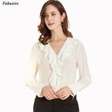 100% Natural Silk Blouse Women Fall 2019 Long Sleeve Sexy V Neck Real Office Shirt Ruffles Elegant White Tops