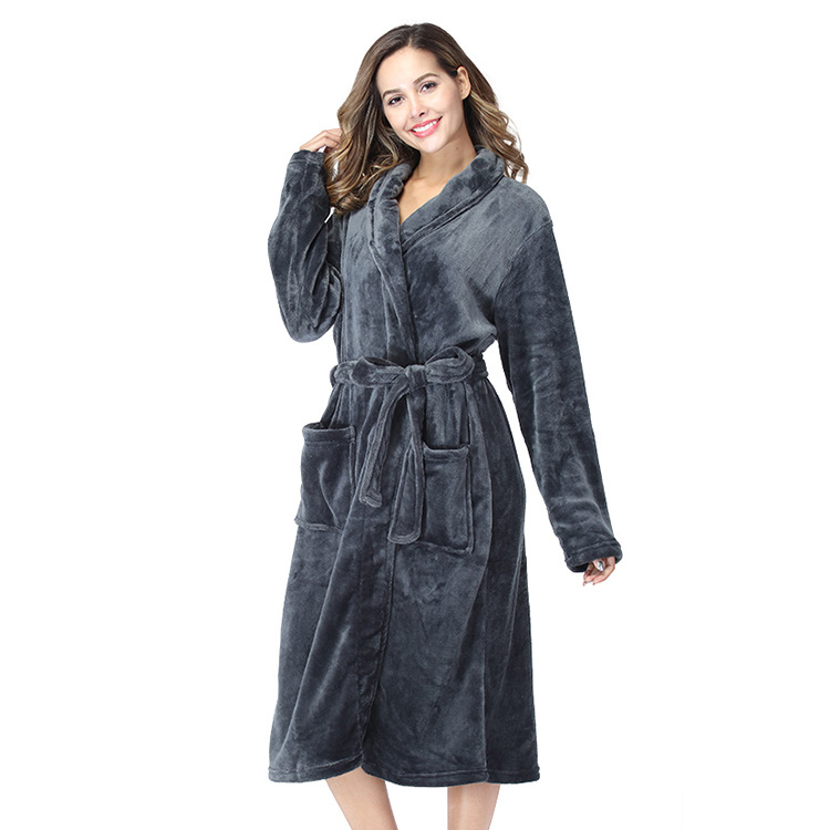 Female Coral Fleece Autumn Winter Nightwear Home Clothing Sleepwear Long Sleeve Warm Kimono Robe Bathrobe Nightgown Homewear