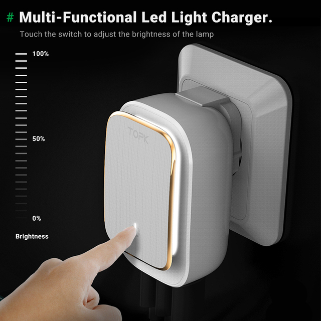 TOPK 4-Port 4.4A(Max) 22W EU USB Charger Adapter LED Lamp Auto-ID Portable Phone Travel Wall Charger for iPhone Samsung 3