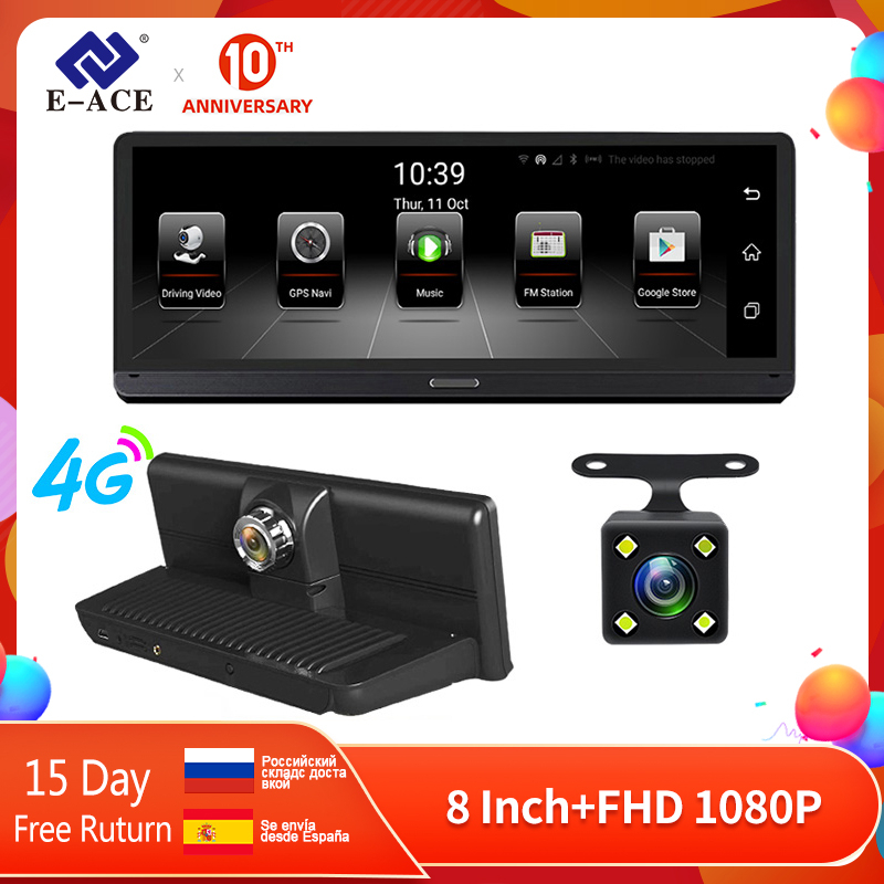 E-ACE Car DVRs 4G Android 5.1 Camara 8.0 Inch GPS Navigation Wifi FHD 1080P Video Recorder ADAS Bluetooth Auto Dash Cam