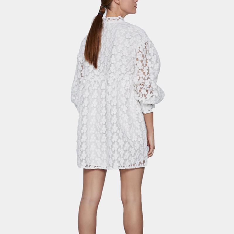 Элегантное ажурное женское платье с длинным рукавом и оборками, Белое Мини-Платье, весна-лето, повседневные однотонные платья
