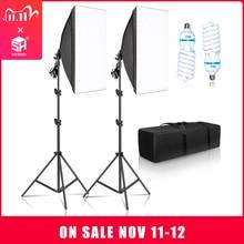 Софтбокс для фотосъемки 50x70 см, комплекты для профессиональной светильник с лампочками E27, оборудование для фотостудии