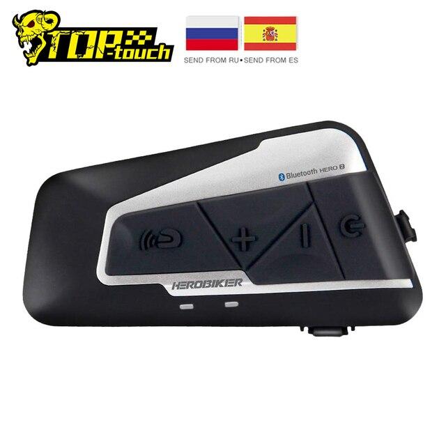 Herorider oreillette Bluetooth pour Moto, appareil de communication pour casque, Interphone pour vélo, portée 1200M, kit mains libres résistant à leau pour 2 sorties
