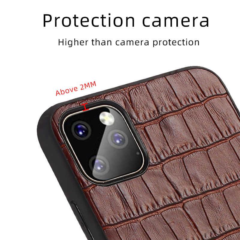 Zakelijke lederen telefoon case Voor iPhone 11 Pro max Anti-val Krokodil textuur cover voor iPhone 7 8 plus 5 6 6S X XS XR XSmax 11