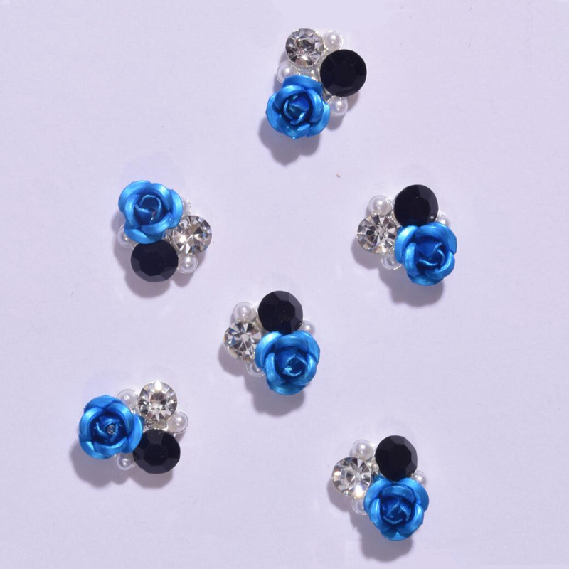 Купить 10psc 3d 9*9 мм сплав для дизайна ногтей роза воздуходувки хрустальные