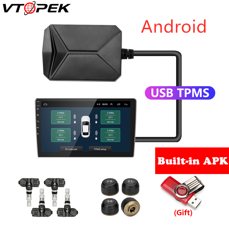 USB Android TPMS Tire Pressure Monitoring System Display Alarm System 5V Internal Sensors Android Navigation Car Radio 4 Sensors